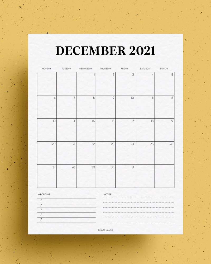 free printable vertical calendar for december
