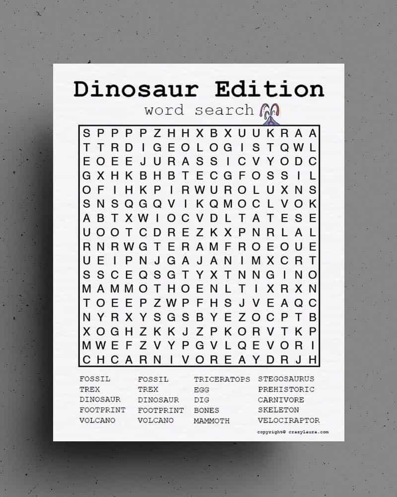 free printable dinosaur word search