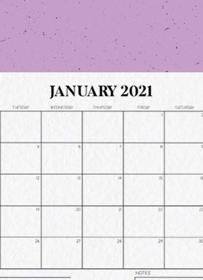 2021 horizontal calendar printable