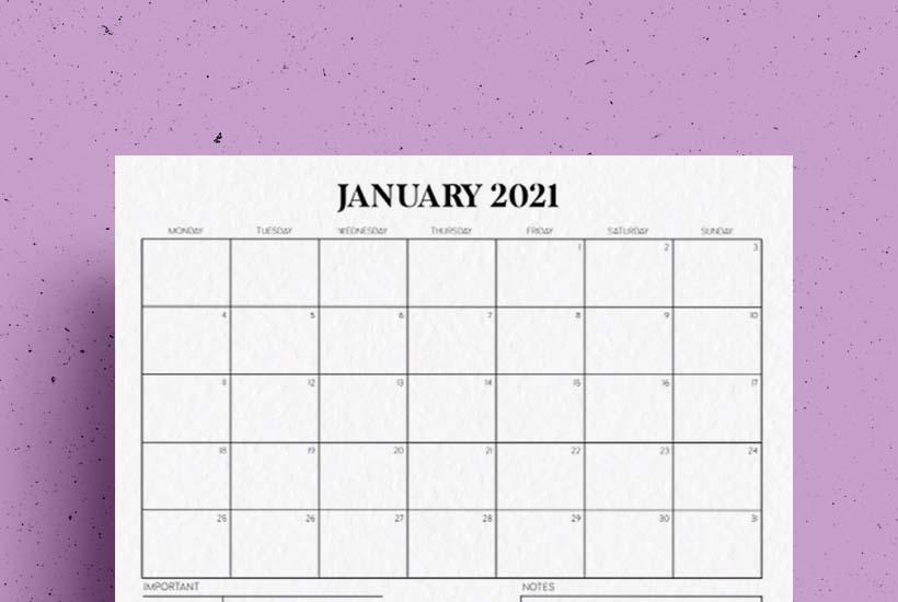 Free Horizontal Calendar Printable for 2021