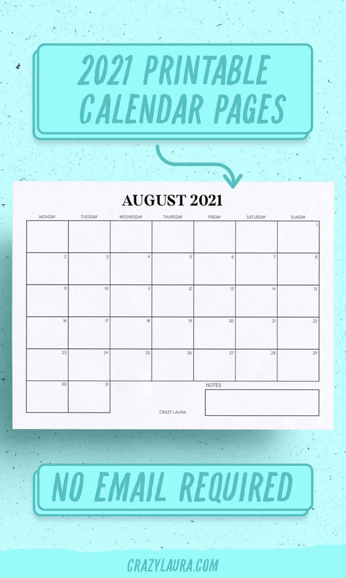 printable 2021 calendar pages
