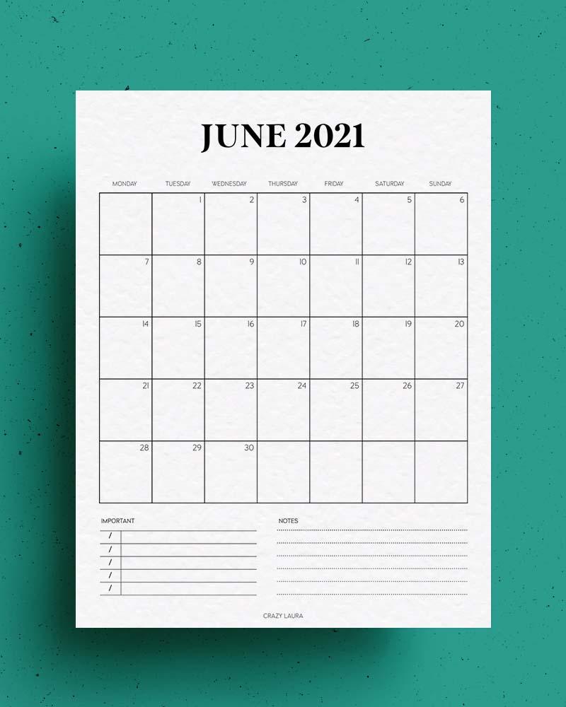 june 2020 free calendar printable