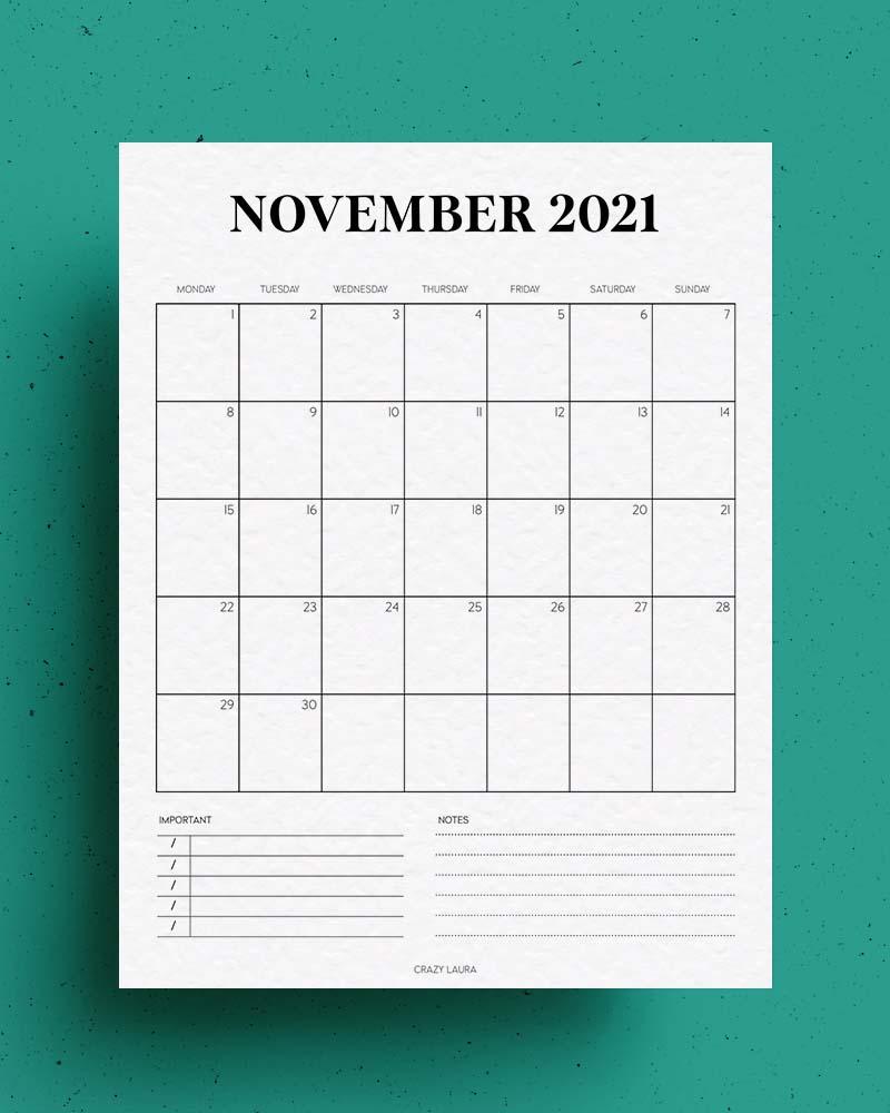 blank template for november calendar