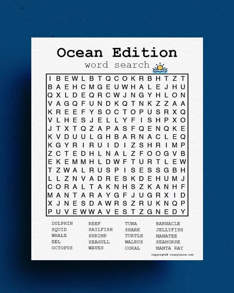 ocean word hunt printable game