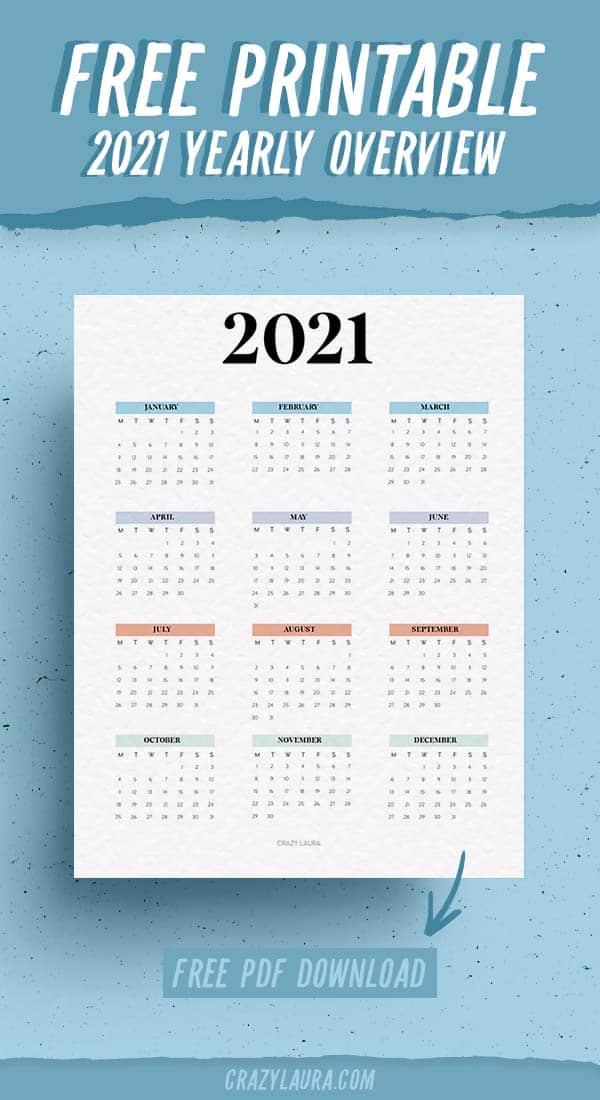 free 2021 overview calendar
