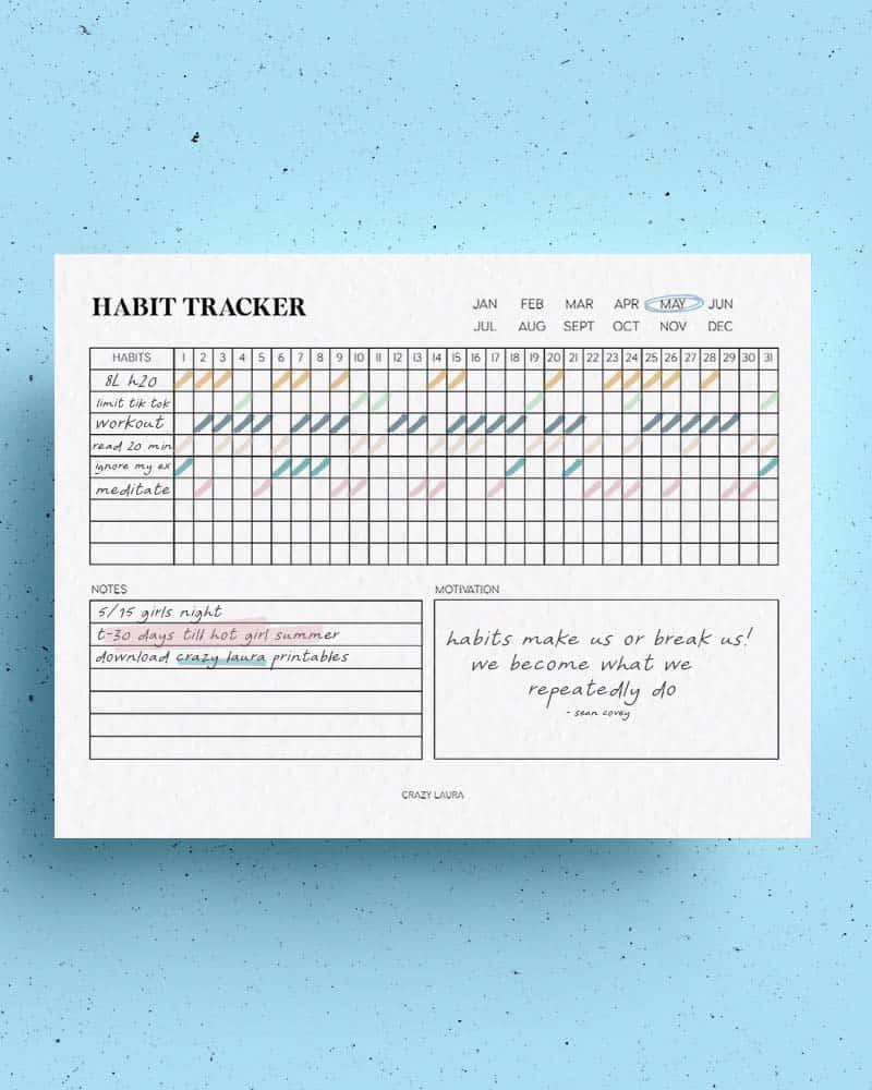 horizontal tracking spread printable