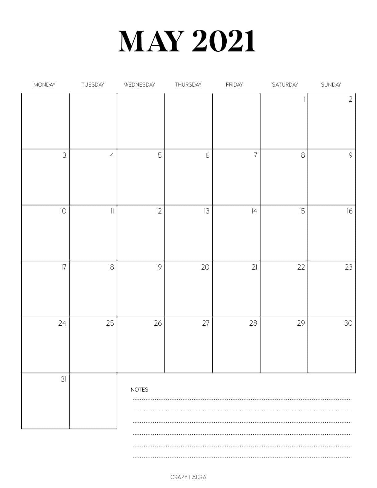 minimal calendar for may