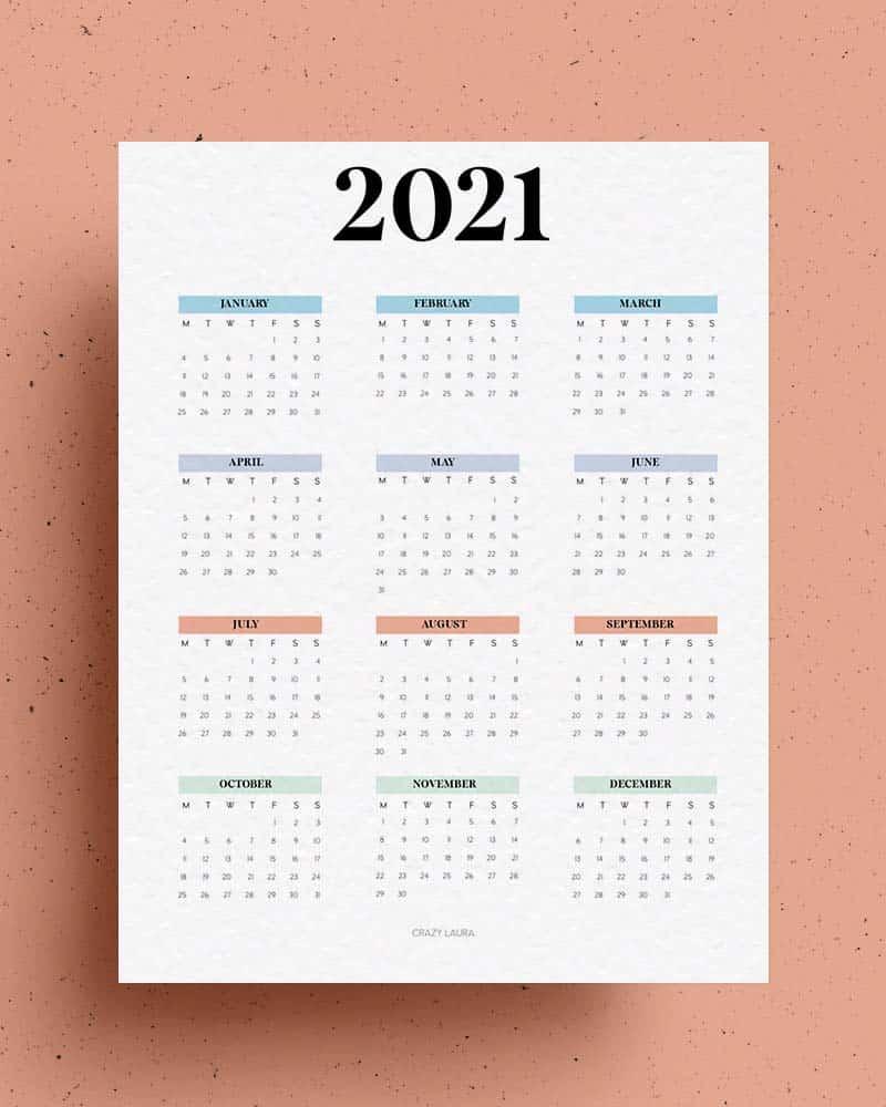 free 2021 calendar overview
