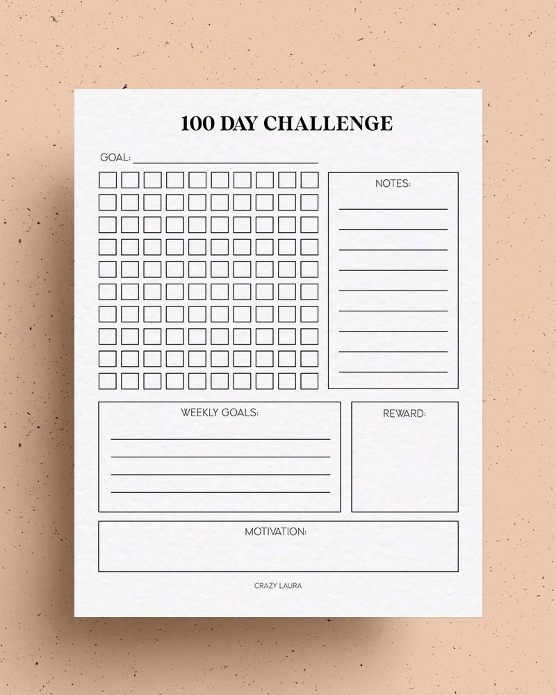 free 100 day habit tracker page