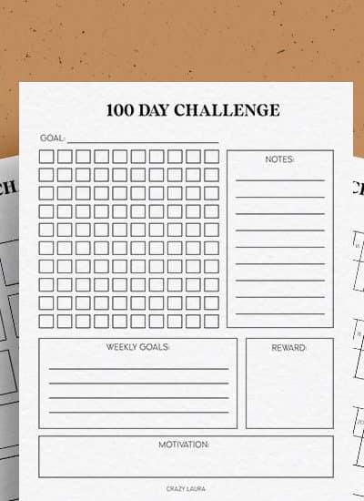 free printable challenge trackers