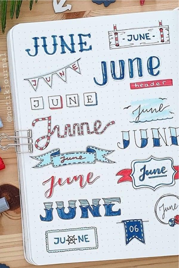 best journal headers for summer theme