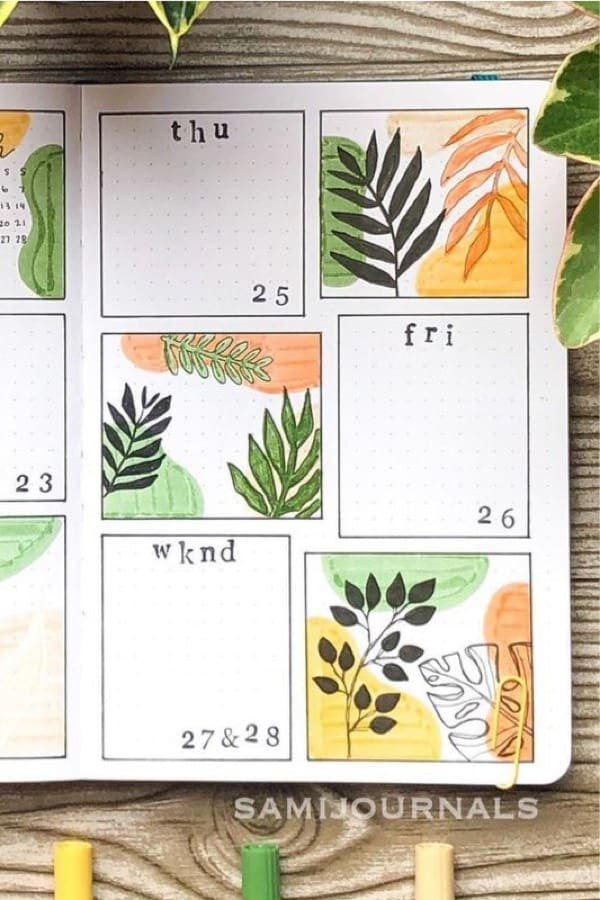 bujo weekly spread with plant leaf theme