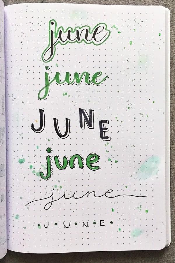 creative ways to write june for bujos