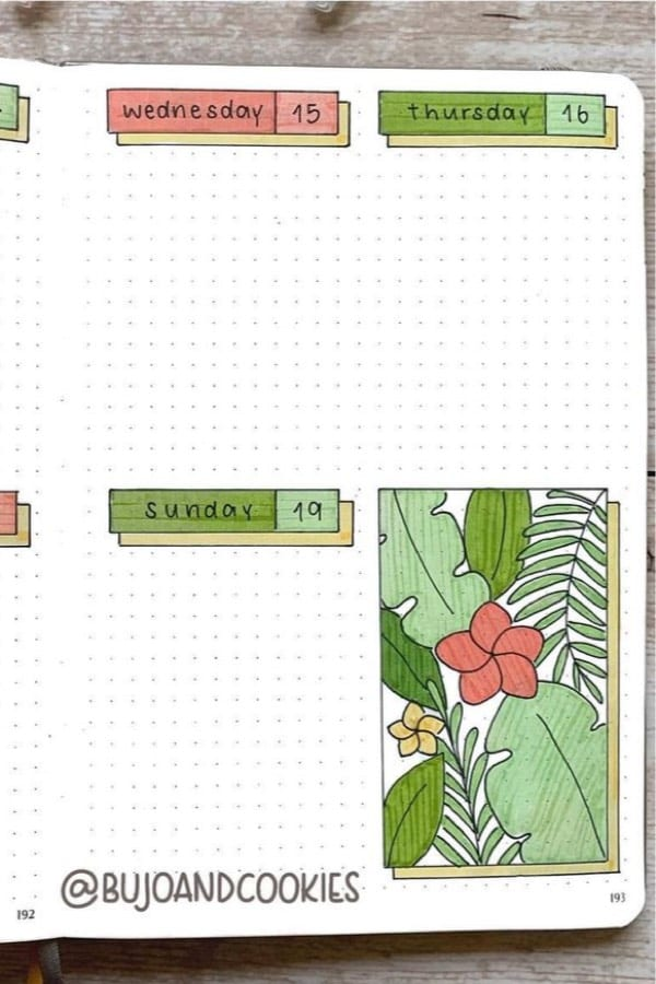 green weekly log with plant doodles