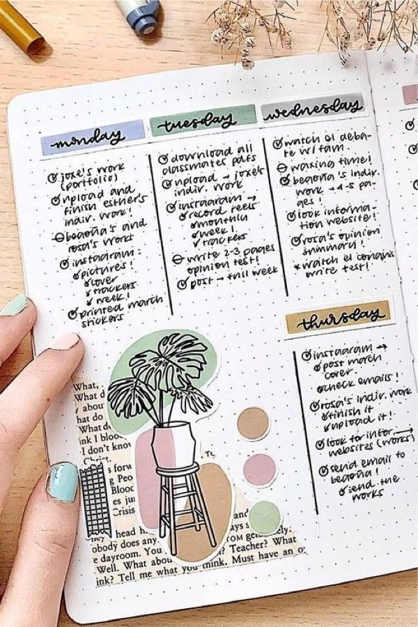 house plant themed dot journal log