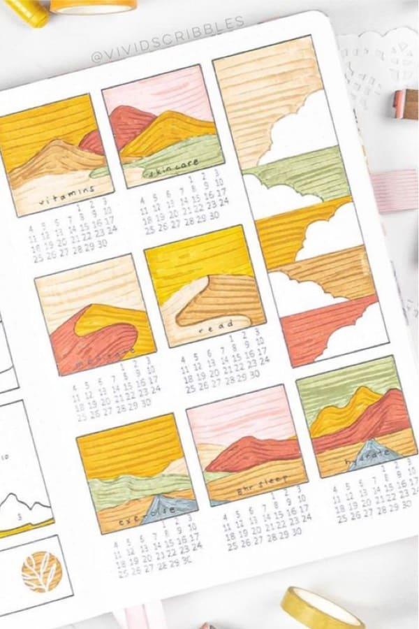 boxy layout for summer habit tracker bujo