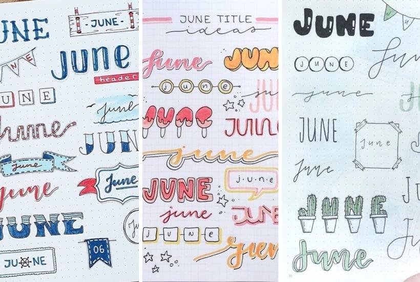 list of june header lettering ideas