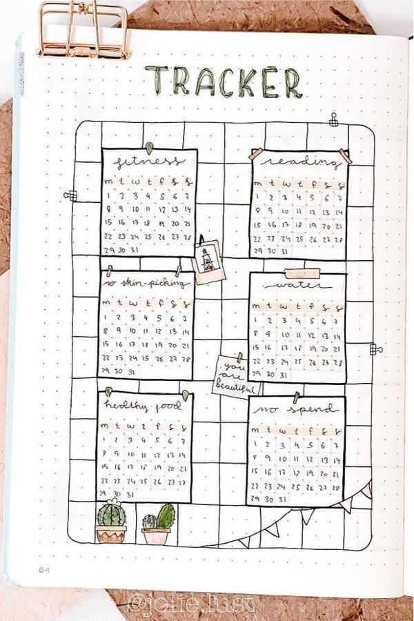 summertime bullet journal habit tracker