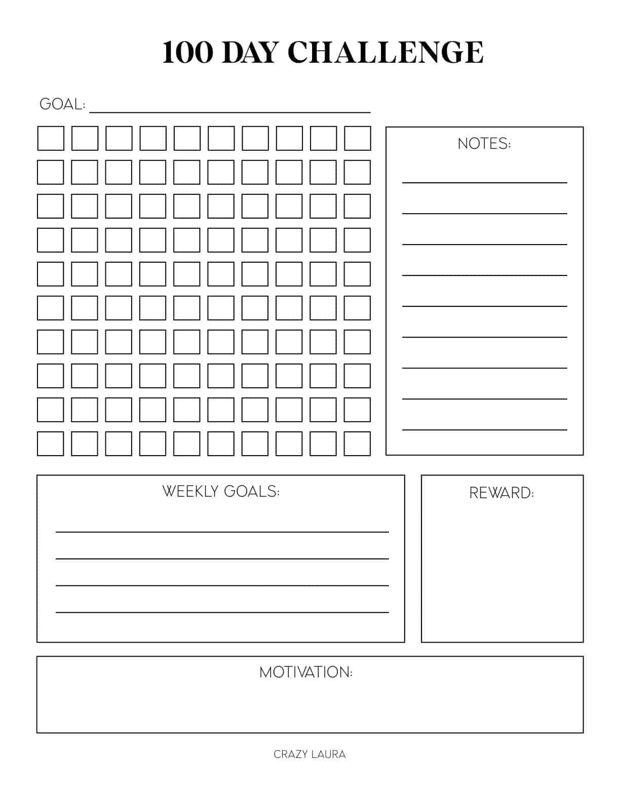 free blank challenge tracker pages