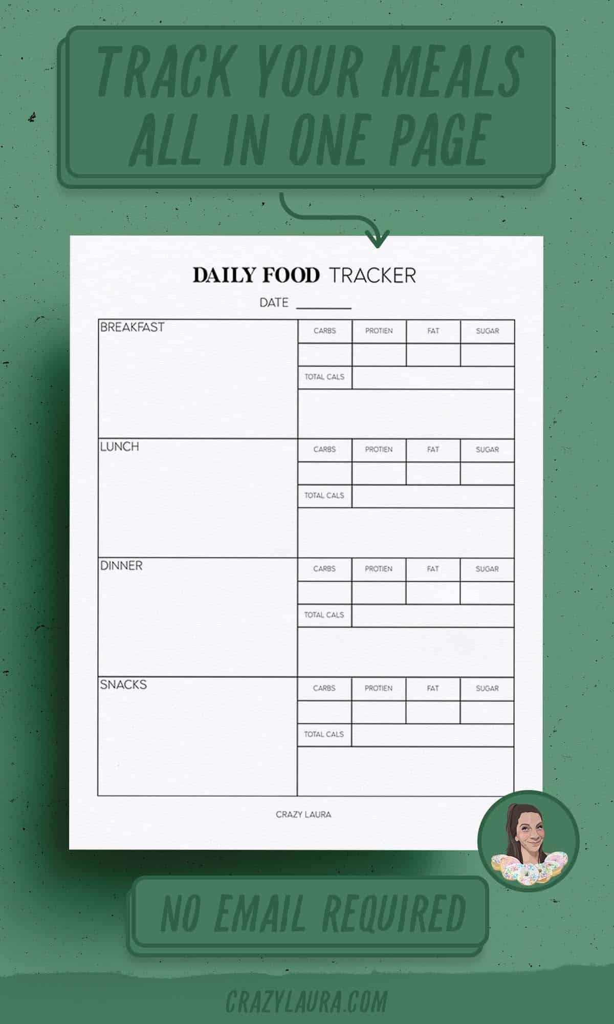blank printable  tracker for food