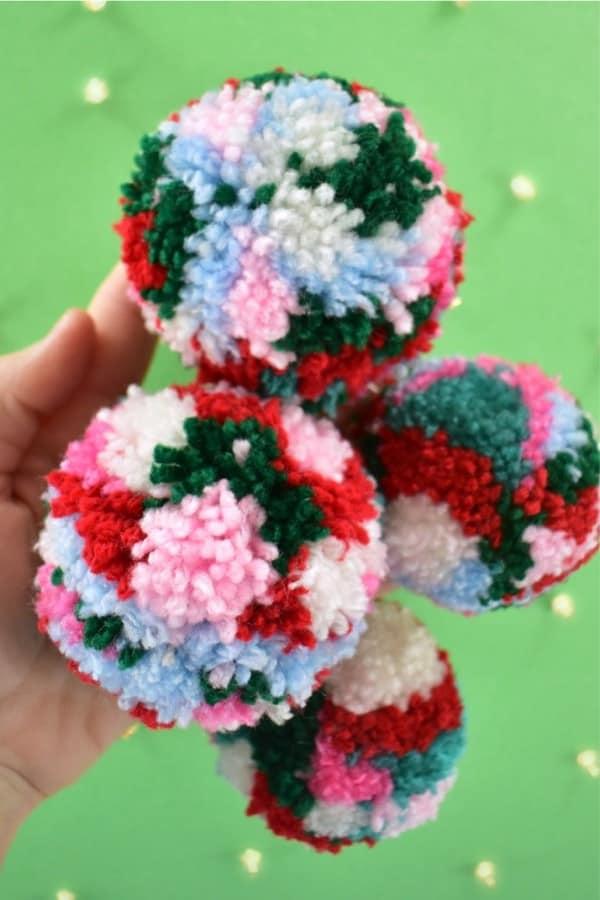 colorful yarn balls for diy christmas ornaments