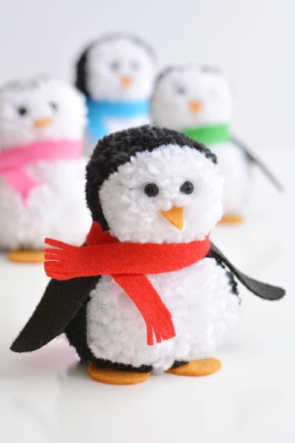 animal craft with yarn pom poms for kids