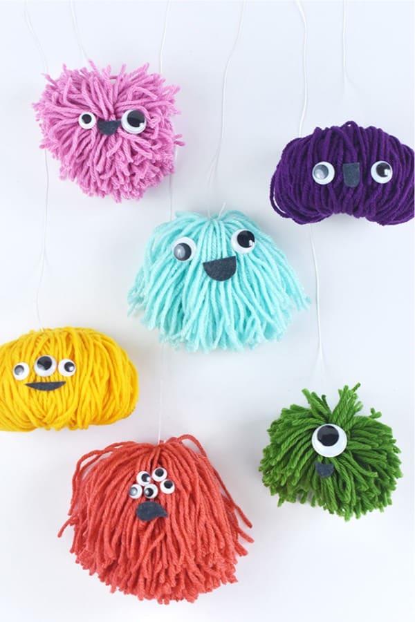 cute kids craft with diy yarn pom poms