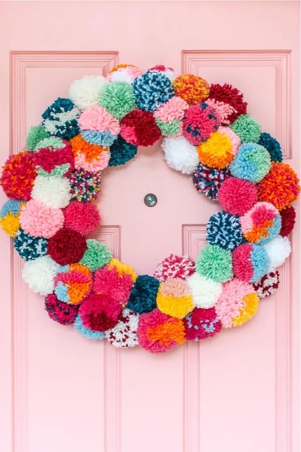 homemade yarn wreath for door