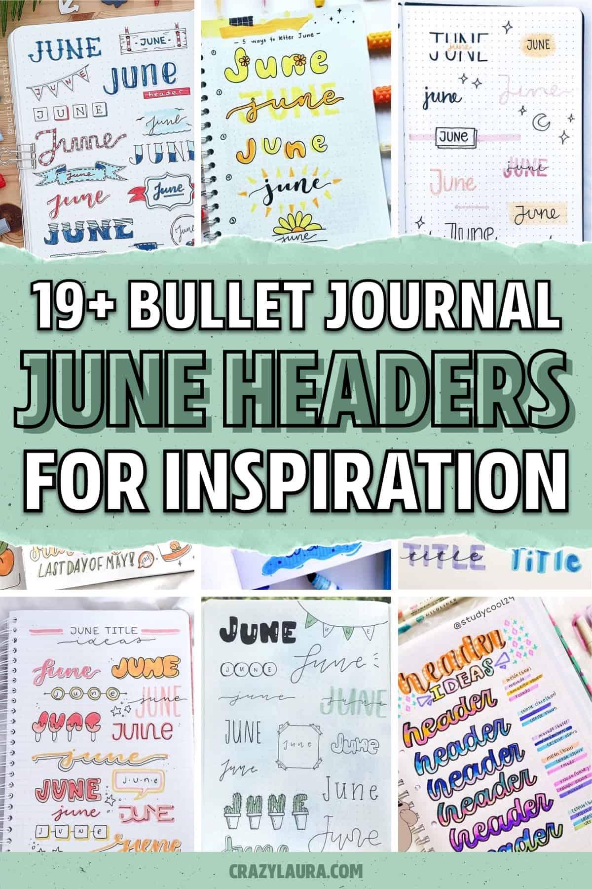 lettering for june journal spread