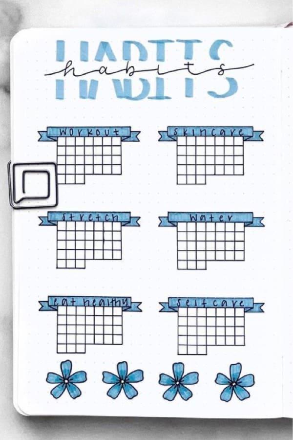 grid journal habit spread for summer