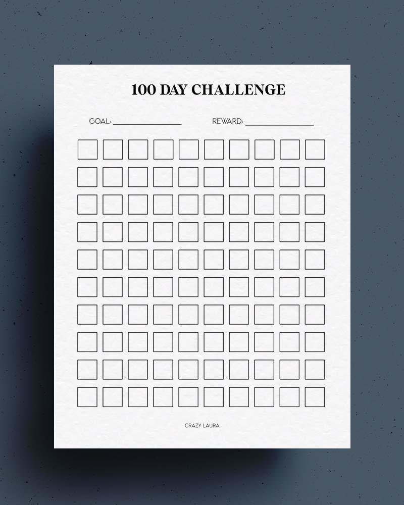 blank challenge tracker 100 day
