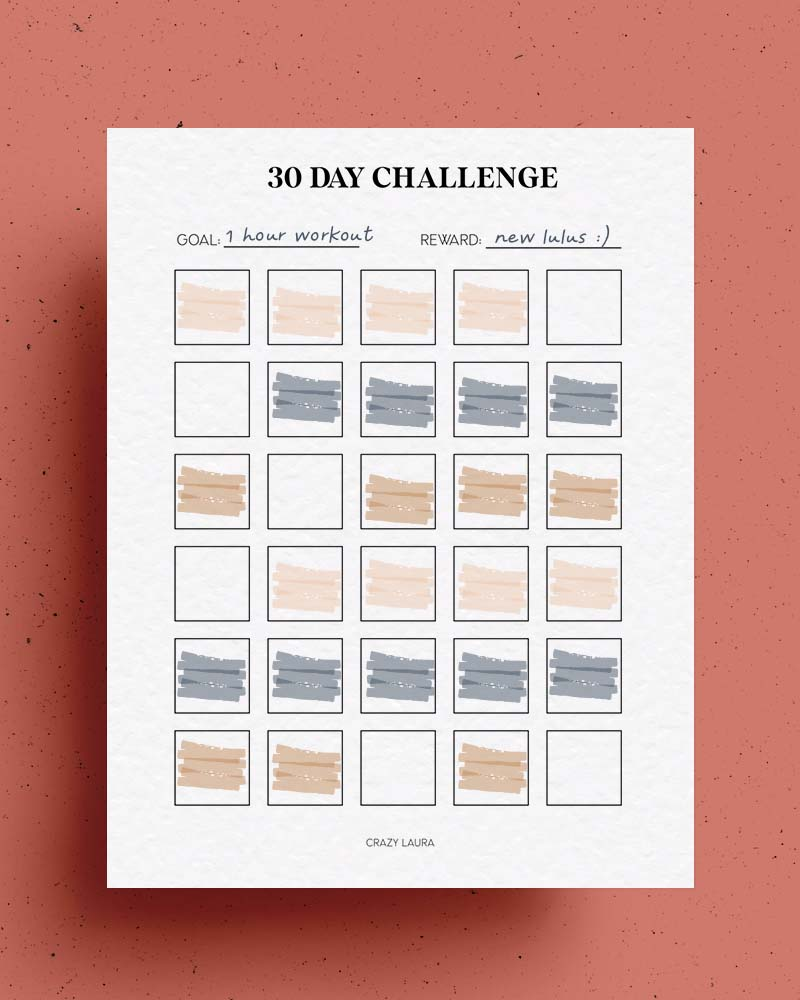 simple 30 day tracker printable