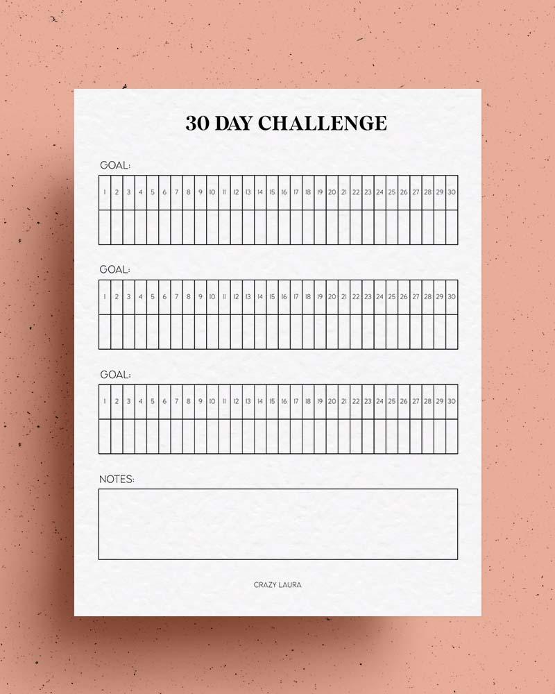 30 day challenge printable insert