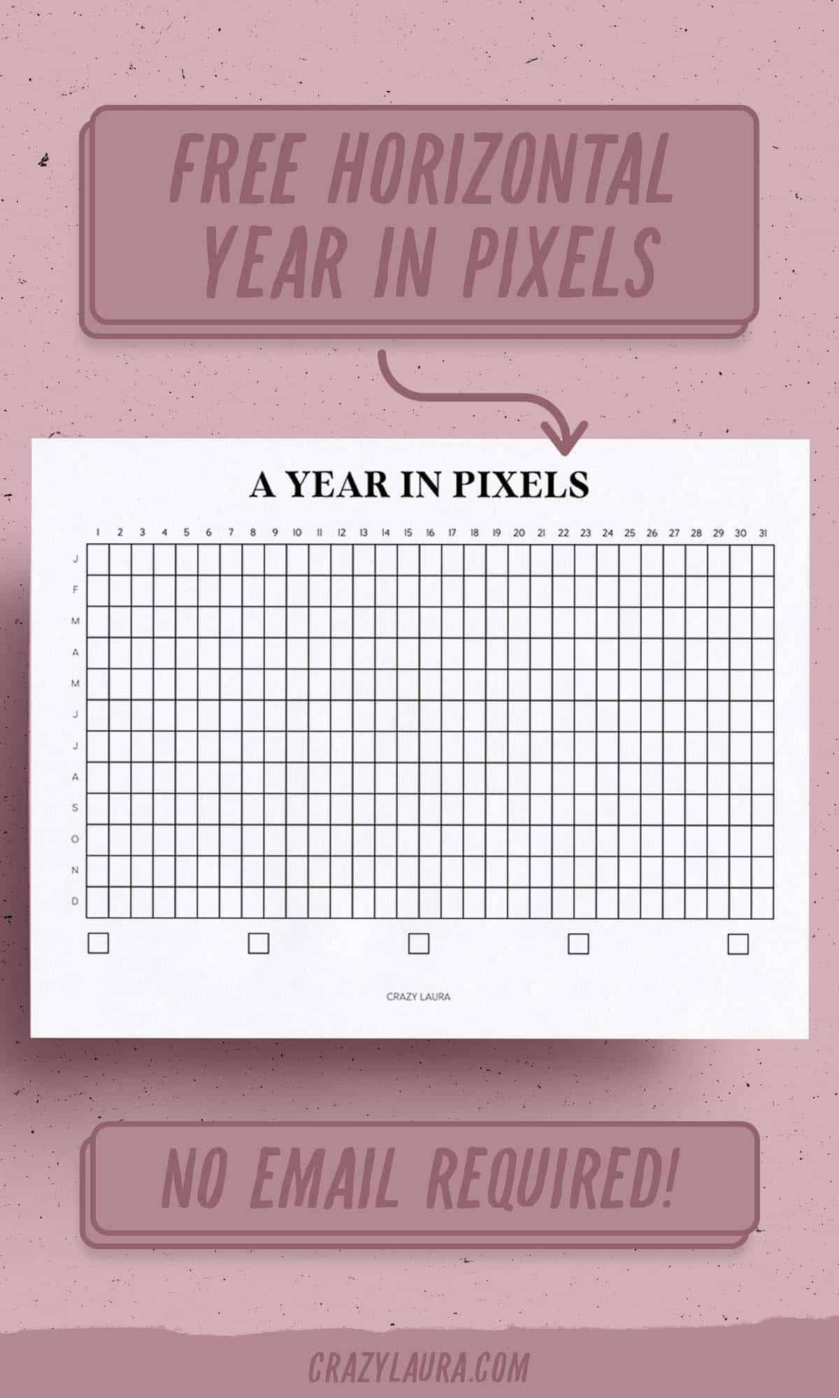 horizontal year in pixel tracker