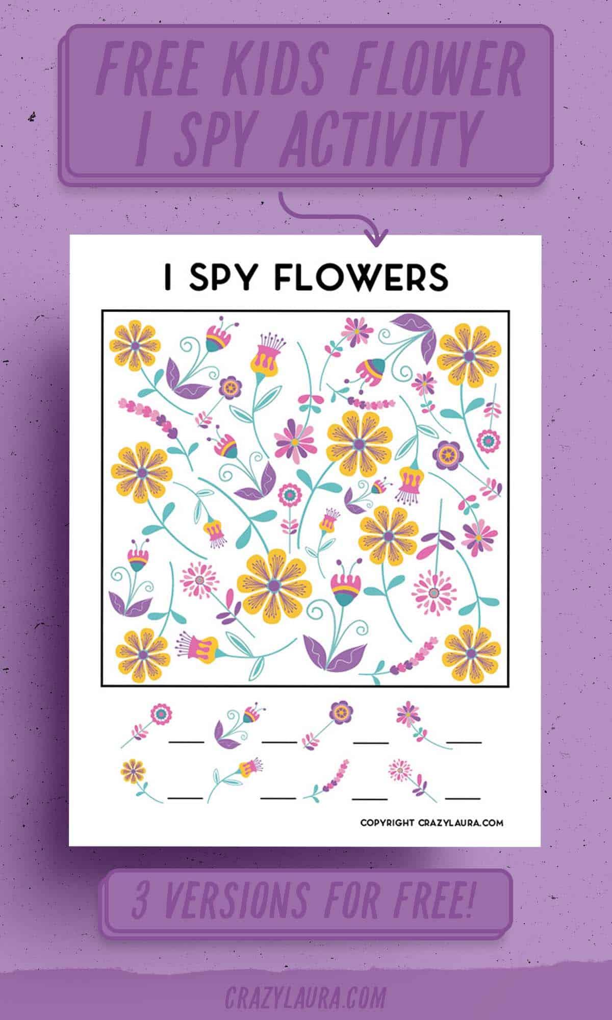 kids I spy flower templates to print