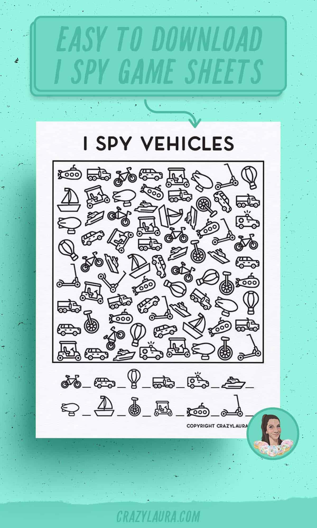 i spy templates with vehicles