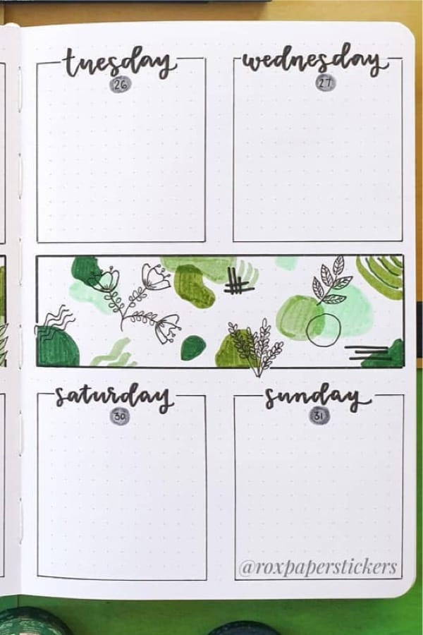 bullet journal spread with plant theme drawings