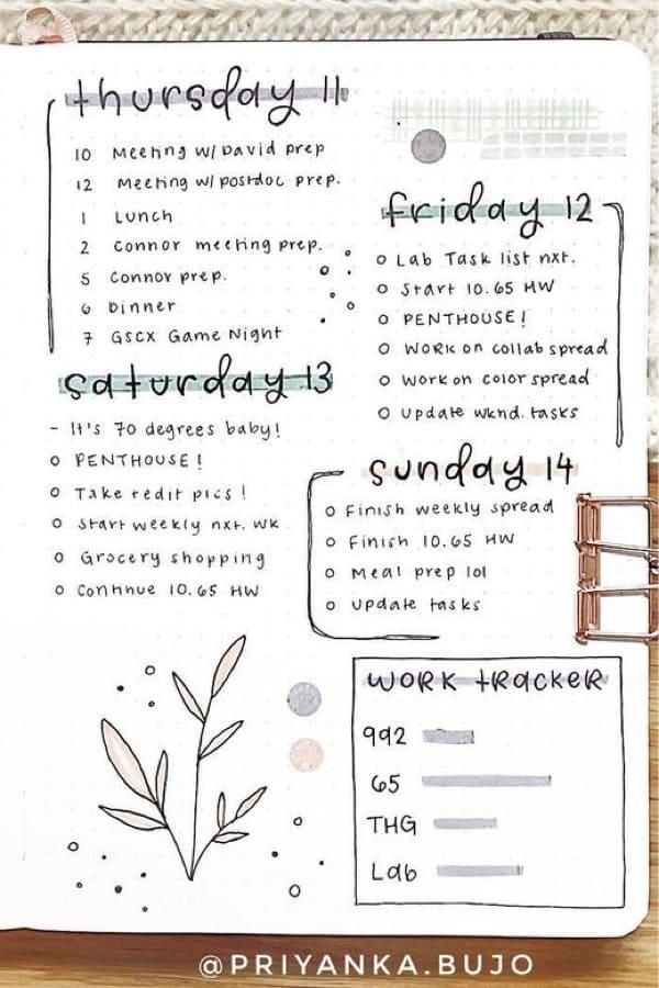 simple weekly spread with leaf doodles