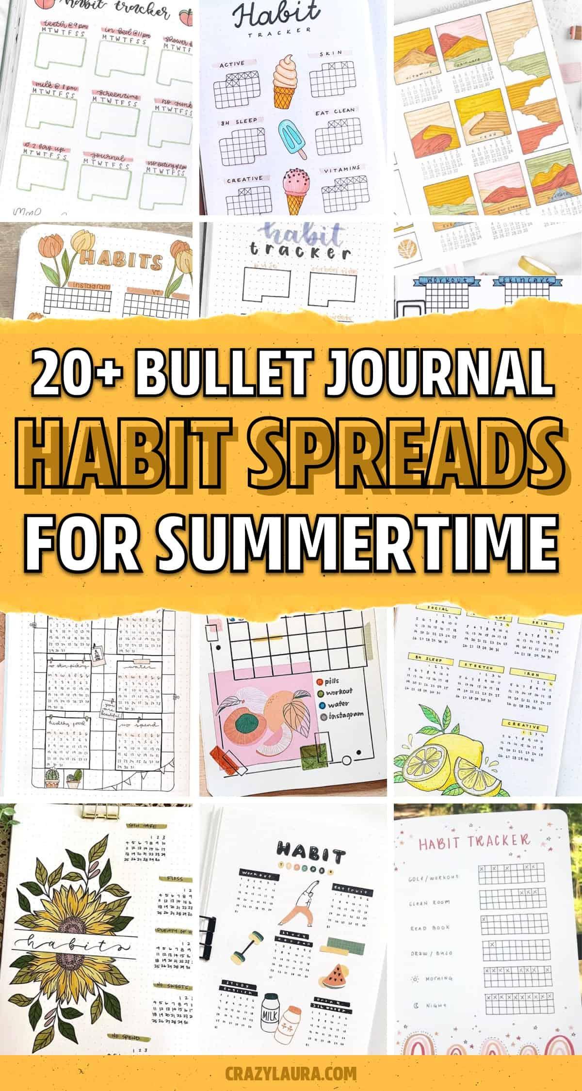 habit tracker layout inspiration for summer