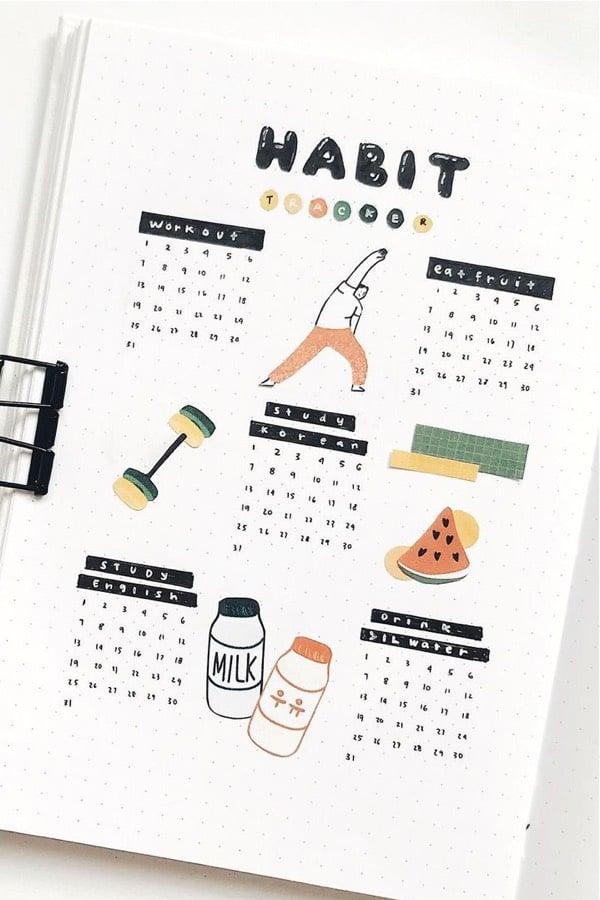 bullet journal habit log inspo for summer