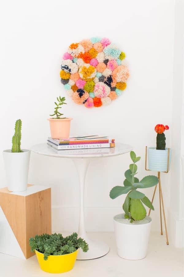 diy wall art with pom poms
