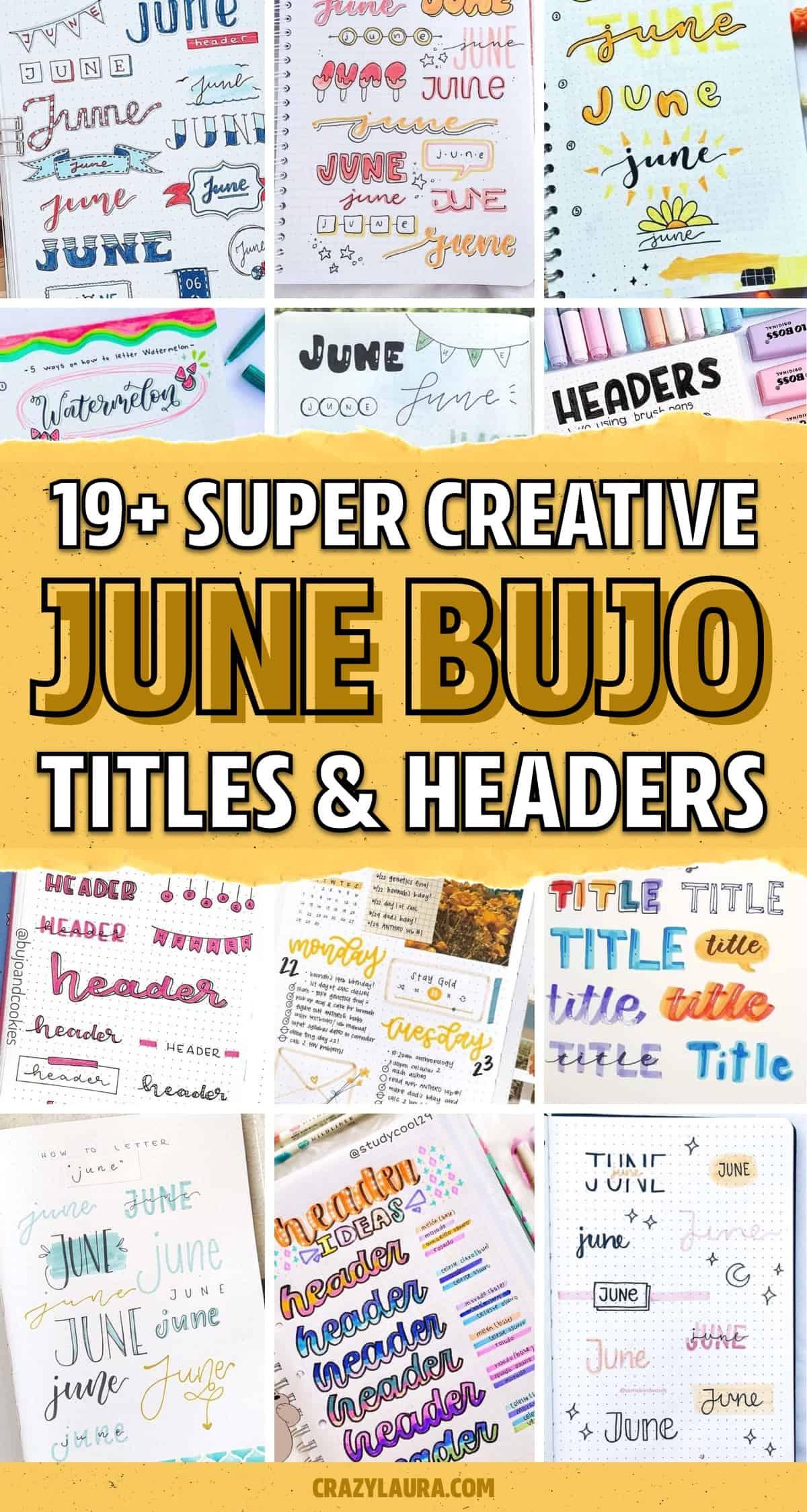 june dot journal title lettering examples