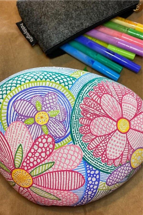 flower design for rock painting