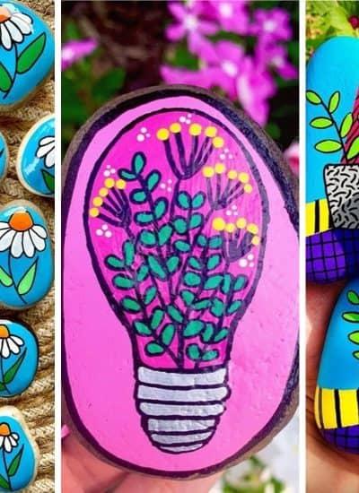 creative flower painted rock ideas