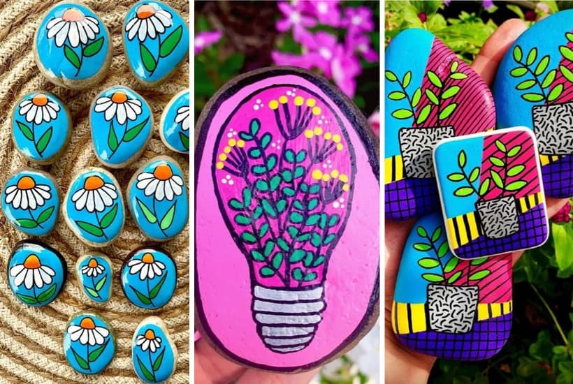 35+ Super Colorful Flower Painted Rocks For Inspiration