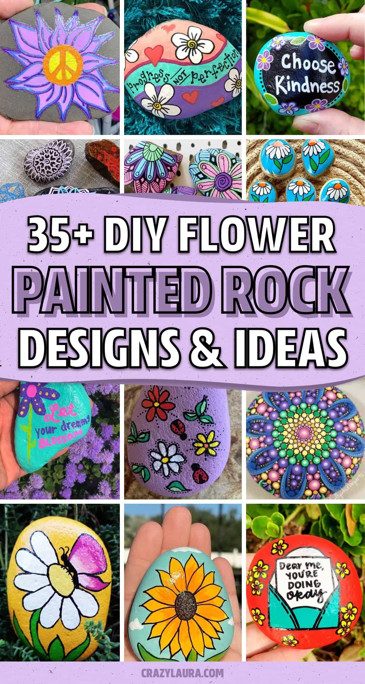 design ideas for flower painted pebbles