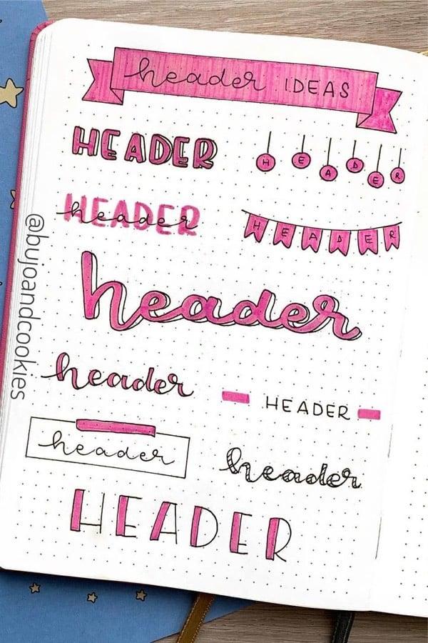 ways to draw pink bullet journal titles