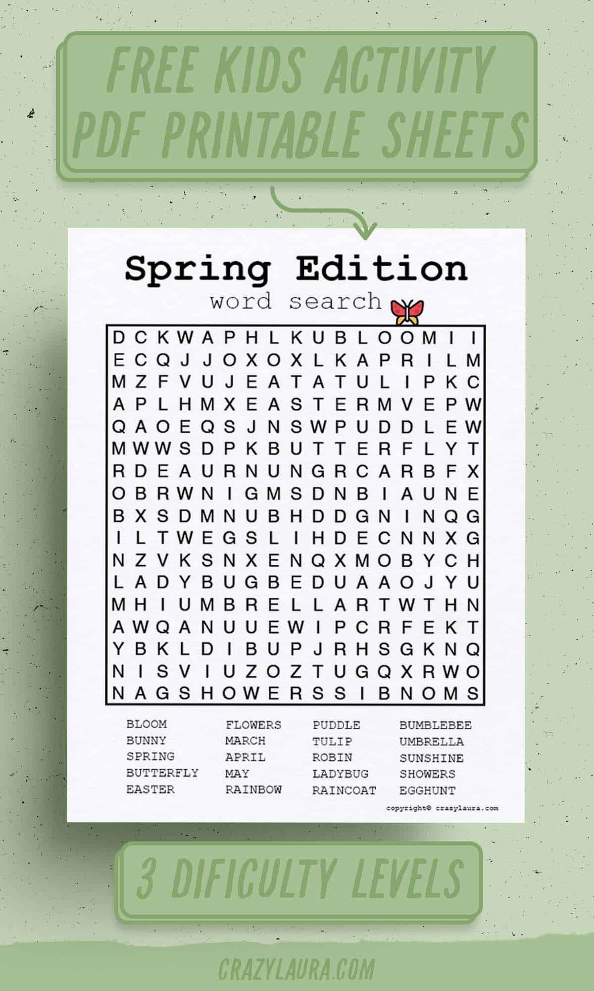 spring word search pdf