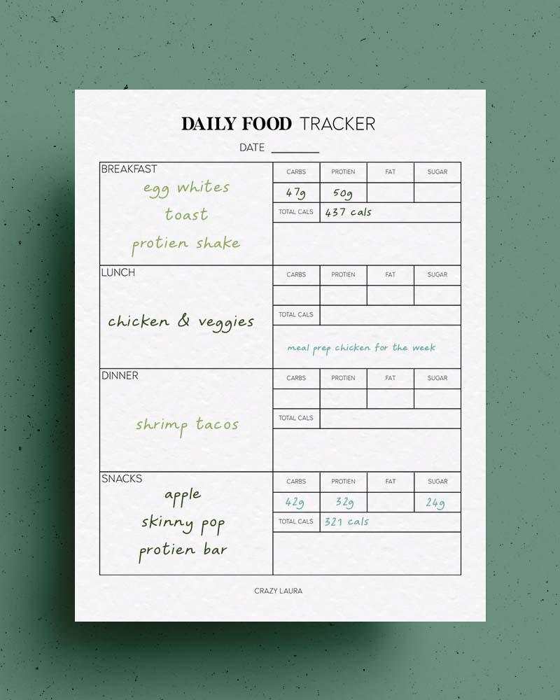 free weekly food tracker