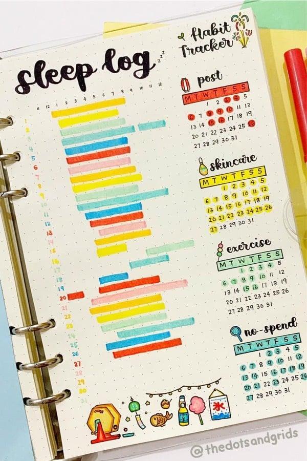 bullet journal tracker inspriation for summer